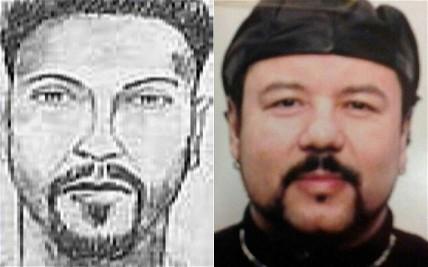 Retrato falado preparado pelo FBI em 2005 ladeado pela foto de Castro. Fonte: FBI